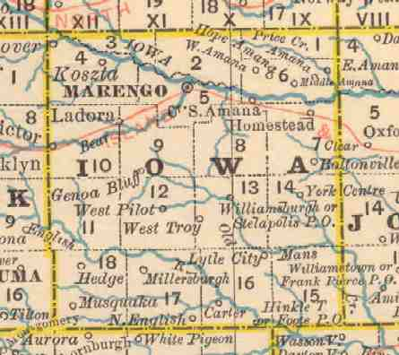 Ghost Towns Of Iowa County Iowa - Iowa county map